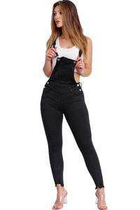 Damen Skinny Jeans Latzhose Slim Fit Overall Latzjeans Träger Hosen, Farben:Schwarz, Größe:38