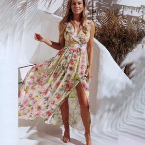 Damen Blumendruck Langes Maxikleid ärmellos Strandkleid,Gelb,42