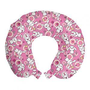 ABAKUHAUS Anime Reisekissen Nackenstütze, Kaninchen Kinder Humor, Schaumstoff Reiseartikel für Flugzeug und Auto, 30x30 cm, weiß Rosa