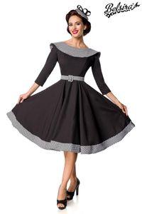 Premium Vintage Swing-Kleid mit Kragen, Farbe: Schwarz/Weiß, Größe: L