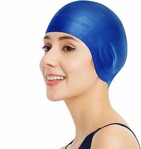 Badekappe - Silikon Badekappen Badehüte Anti-Rutsch wasserdichte Badekappe für Lange Haare Frauen und Männer