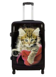 Reisekoffer L Schwarz mit Katze Tier 67x46x27cm Hartschale Koffer Trolley + 20% Erweiterbar mit Dehnfalte Bowatex