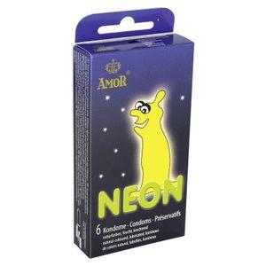 Amor Neon Leuchtkondome 6 Stk.
