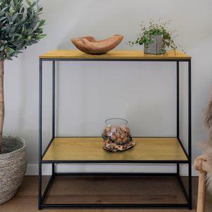 Selsey Konsolentisch SEAFORD - Flurtisch mit Ablage - Industrial-Style - Eiche / Schwarz,  80x80x36 cm