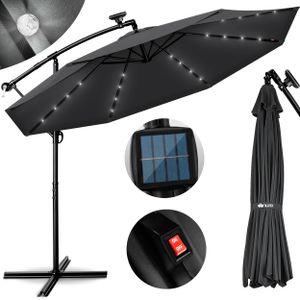 tillvex Alu Ampelschirm Anthrazit LED Solar Ø 300 cm mit Kurbel | Sonnenschirm mit An-/Ausschalter | Gartenschirm UV-Schutz Aluminium | Kurbelschirm mit Ständer Marktschirm wasserdicht