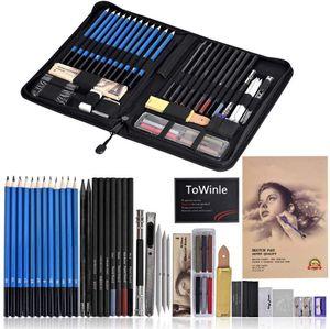 Bleistift Set 48-teilige Skizzieren Zeichnen Stifte Bleistifte zum Skizzieren und Zeichnen Professional Skizzierstifte Set mit Graphitkohlestifte