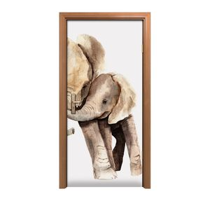 Türposter 90x200 cm Türaufkleber Türtapete Türfolie Klebefolie Tiere Afrikanischer Elefant Skizze