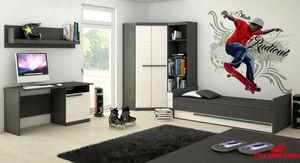 Jugendzimmer komplett 5-teilig grafit grau / andersen kiefer