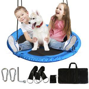 Nestschaukel 100cm runde Hängeschaukel bis 200kg mit allem Zubehör Schaukel Befestigung Gartenschaukel für Kinder und Erwachsene höheverstellbar