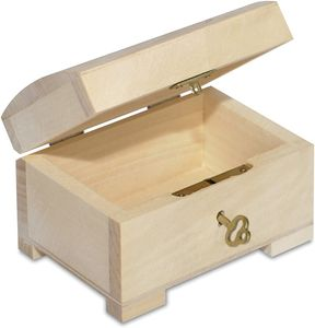 Creative Deco Kleine Holz-Kiste mit Deckel, Schloss und Schlüssel für Schmuck-Stücke   10,6 x 7,5 x 7,5 cm   Abschließbare Holz-Box für kleine Gegenständen   Perfekt für Aufbewahrung und Dekoration