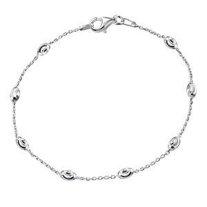 MATERIA Feines Damen Armband mit Kugeln aus 925 Sterling Silber Armkette dünn 19cm SA-69