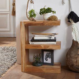 WOHNLING Beistelltisch MUMBAI Massivholz Akazie 'E' Cube 60 cm hoch Wohnzimmer-Tisch Design braun Landhaus-Stil Couchtisch