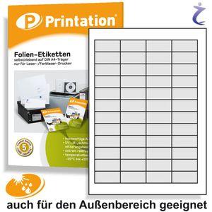 Universal Etiketten 45,7 x 21,2 mm WETTERFEST weiß auf DIN A4 Bogen - 4 x 12 Stück / Seite 480 Folienetiketten 45,7x21,2 selbstklebend bedruckbar mit Laser Drucker
