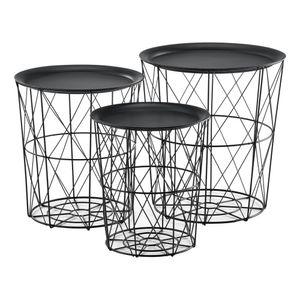 [en.casa] 3er Set Metallkorb Beistelltisch Schwarz Couchtisch mit abnehmbare Tischplatten Sofatisch Tablettisch Wohnzimmertisch 3 Beistelltische
