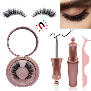Magnetic Eyeliners and Eyelashes - 2 Pairs Natural Magnetic Eyelashes, 3D Magnetic Reusable Magnetic Eyelashes with a Mirror and Tweezer, Eyelashes With Natural Look- No Glue Needed