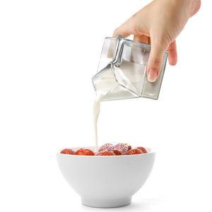Glas Milchkanne Milchkaraffe Design Milchtüte Milch Kanne Karaffe aus Glas