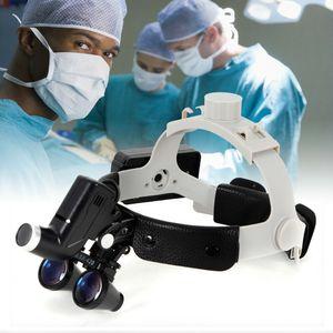 Kopflampe Dental LED 3.5X Zahnmedizin Binokularlupen Binocular Lupenbrille mit LED Scheinwerfer 5W 420mm Zahnheilkunde Chirurgie