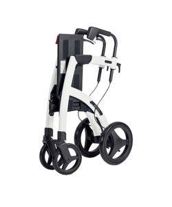 Saljol Rollz Motion² Rollator Rollstuhl, 2in1 Transportrollstuhl mit Fußstützen, bis 125kg belastbar, Farbe:island blue, Ausführung:Sitzhöhe 50 cm, small