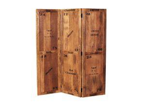SIT Möbel Paravent | 3-tlg. | Mango-Holz lackiert | B 150 x T 3 x H 170 cm | natur antik mit antikschwarz | 01957-04 | Serie RUSTIC