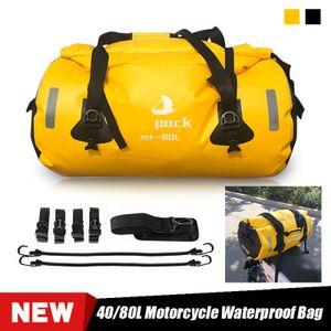 60L Wasserdicht Motorrad Hecktasche Gepäcktasche Gepäckrolle Hecktasche Reisen Tasche mit 4 x Schnellverschlussgurte +1 x Schultergurte +2 x Zurrseile in 60CM