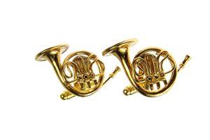 Horn Waldhorn Manschettenknöpfe Miniblings Knöpfe + Box Hornist Musiker vergoldet
