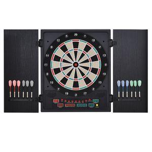 HOMCOM Elektronische Dart-set, Dartboard, Dartscheibe mit 12 Darts, Schwarz+Weiß, 27 Spiele und 202 Trefferoptionen für 8 Spieler, 51 x 6,5 x 57 cm