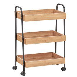 Zeller Servierwagen Küchenwagen mit Rollen 3 Ebenen Bambus Metallgestell 13767