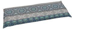 GO-DE Textil, Bank-Auflage 115cm, Ornamentstreifen blau grau, 20331-11