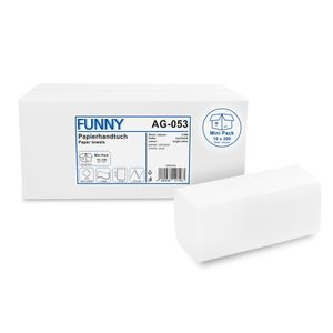 Funny Papierhandtücher, V/ZZ Falz, 2-lagig, hochweiß, 24x21 cm, 2000 Stück