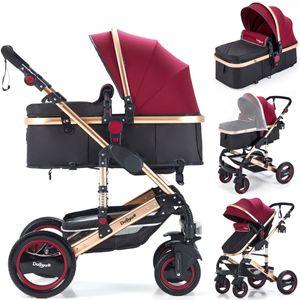 2in1 Kinderwagen Bambimo Kombikinderwagen 9-Teile Set in Bordeaux-Rot incl. Babywanne & Buggy & Alu-Gestell & Gummireifen & mehr