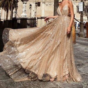 Frauen y Spitze Solid Sleeve Rücken Hohl V-Ausschnitt Lange Party Elegantes Kleid Größe:S,Farbe:Gold