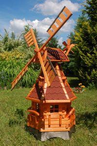 Norddeutsche Windmühle mit Solar Beleuchtung 1,25m kugelgelagert, Farbe:Rot