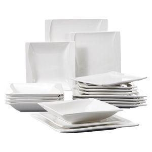MALACASA, Serie Carina, Cremeweiß Porzellan Tafelservice 18 teilig Set Kombiservice Geschirrset mit Speiseteller,  Suppenteller und Dessertteller für 6 Personen