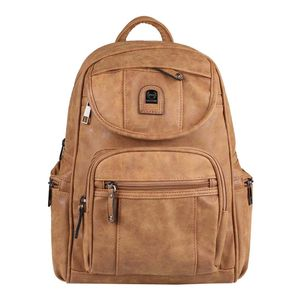 Damen Rucksack Stadtrucksack Backpack Daypack Cityrucksack Leder Optik Handtasche Shopper Tagesrucksack Crossbag Braun