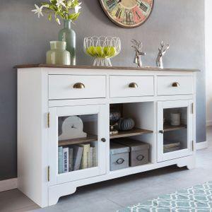 Sideboard MAYLA mit 2 Türen 140 x 85 x 45 cm Weiß / Braun