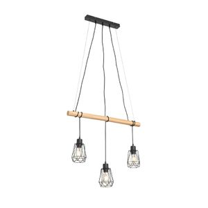 QAZQA - Landhaus | Vintage Land Hängelampe | Pendellampe | Pendelleuchte schwarz mit Holz 3-flammig-Licht - Dami Retro Frame | Wohnzimmer | Schlafzimmer | Küche - Stahl Länglich - LED geeignet E27