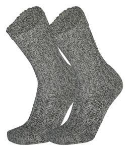 Tobeni 3 Paar Grobstrick Norwegersocken mit Wolle Arbeitssocken für Damen und Herren, Farbe:Grau Meliert, Grösse:43-46