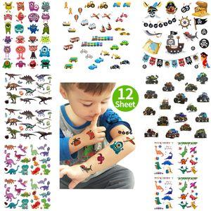 Oblique Unique XXL Kinder Tattoo Set 112 Stück für Jungs Dinos Auto Piraten Motive uvm. Spielen Kindergeburtstag