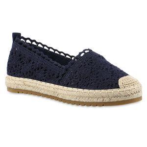 Giralin Damen Espadrilles Slippers Spitze Plateau Bast Profil-Sohle Schuhe 837619, Farbe: Dunkelblau, Größe: 37