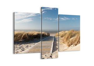 "Leinwandbild - 95x80 cm - ""Hinter der Düne, im Rascheln des Grases""- Wandbilder - Meer Strand Düne - Arttor - CB95x80-2657"
