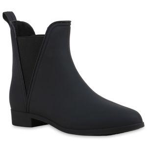 Mytrendshoe Gummistiefel Damen Stiefeletten Chelsea Boots Regen Schuhe 810987, Farbe: Schwarz, Größe: 37