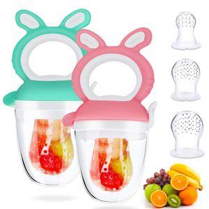 2 Stück Fruchtsauger,Silikon Sauger in 3 Größen,BPA-frei,Schnuller Beißringe für Obst Gemüse Brei Beikost,Fruchtsauger für Baby & Kleinkind