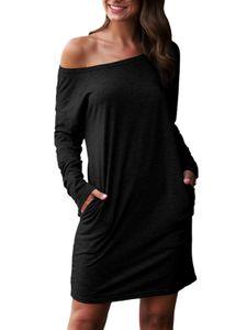 Damen Langarm Schulterfrei Minikleid Shirtkleid Sommerkleid Freizeit Strandkleid