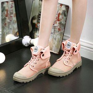 Damenstiefel Palladium Style Mode High-Top Militär Knöchelschuhe Freizeitschuhe Größe:41,Farbe:Rosa