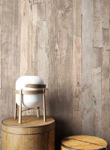 Holztapete Holzwand Beige Vlies Landhaus Landhaus Vintage Shabby Chic Holzbalken Holz Streifen Pium Beige
