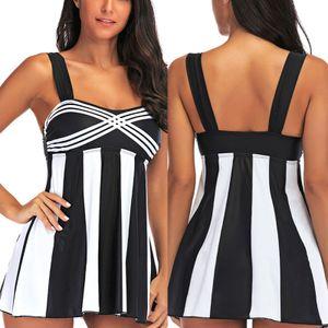 (Schwarz,L)Plus Size Damen Badekleid Badeanzug Push Up Gepolstert Bademode Rückenfrei Strandkleidung