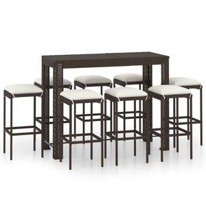 Balkonset 9-TLG. Gartenbar-Set Garten-Essgruppe 8 Stühle + Tisch, Sitzgruppe für 8 Personen mit Kissen Poly Rattan Braun