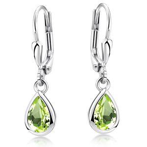 MATERIA Peridot Ohrringe grün Tropfen mit Brisuren - Ohrhänger Damen Silber 925 Schmuck rhodiniert SO-448-Grün