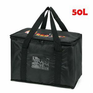 50L Thermobehälter Essen Lieferung Isoliert Taschen Pizza Takeaway Thermisch Warm/Kalt Liefertasche Schwarz 43 x 30 x 31 cm