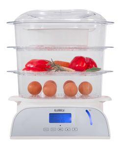 KeMar Kitchenware KFS-950 Dampfgarer   6 Programme   Reisschale   Touch Display   9 Liter   3 Dämpfkörbe